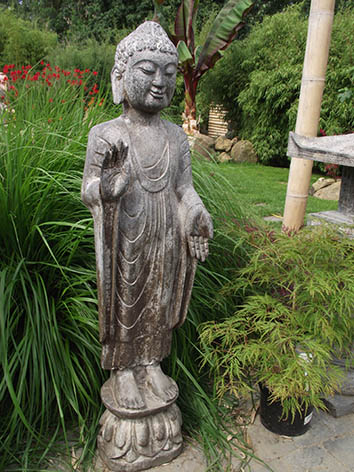 Lil'o bambous - Bouddha debout en pierre bleue