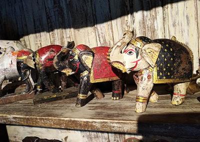 Lil'o bambous - Elephants en bois indien