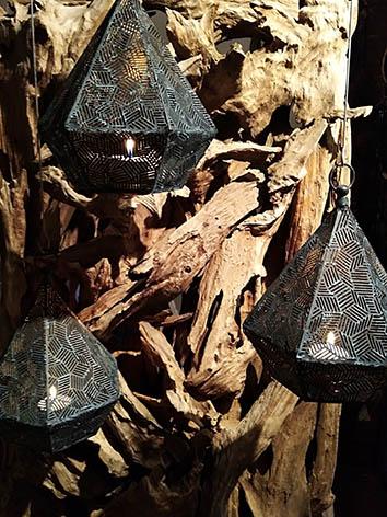 Lil'o bambous - Photophores métaliques en pyramide