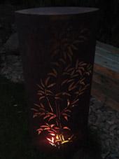 Lil'o bambous - ambiance nocturne - Photophore en métal aux motifs de bambous